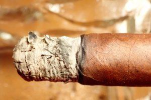 Zigarrenasche auf Zigarre