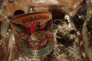 Zigarrenasche und Baderole im Aschenbecher